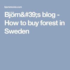 Björn's blog - How to buy forest in Sweden
