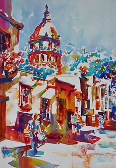 Watercolor by Roger Parent, San Miguel de Allende, Mexico
