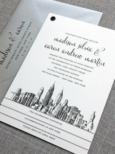 New York City Skyline wedding invitation booklet