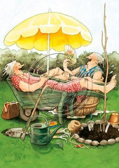 Old Lady Humor, Awesome Wow, Just Be Happy, Friend Friendship, Antique Illustration, Whimsical Art, Friends Forever, Old Women, Fantasy Art