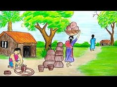 How to draw scenery of Kumar Para step by step with oil pastel Oil Pastel Drawings Easy, Oil Pastel Paintings, Indian Art Paintings, Colorful Drawings, Easy Drawings, Scenery Drawing Pencil, Scenery Drawing For Kids, Oil Pastel Colours, Pastel Art