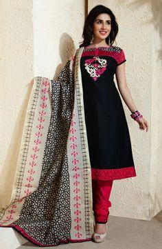 USD 59.71 Black Printed Cotton Salwar Style Suit 29295
