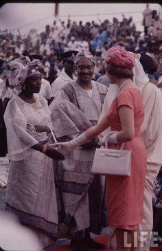 Princess Alexandra shaking hands with Nigerian dignitaries during Nigeria's Independence, Lagos 1960Vintage Nigerian photos