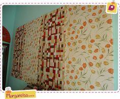 Como fazer painéis para a sua casa, com molduras simples e panos encantadores. @Margaret Santos Silva explica!