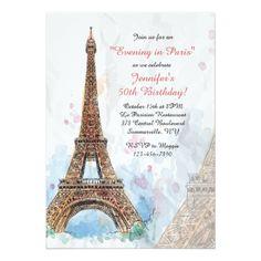 Watercolor Birthday Invitations Paris Watercolor Invitation