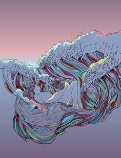 Coppie di amanti nascono dalle onde del mare nelle illustrazioni di Chalermphol Harnchakkham. Conosciuto con lo pseudonimo di Huebucket, l'artista è un illustratore thailandese che crea splendidi disegni surreali dagli effetti psichedelici. In questa serie, attraverso una grafica lineare, prende vita la prorompente forza della natura che si intreccia armoniosamente con l'eleganza di corpi umani...