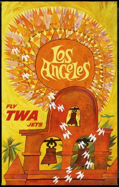 """vntgtravel: """" Los Angeles, TWA Advertising Posters (Trans World Airlines, 1960s) Artist David Klein All TWA posters """""""