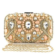 Chic / Beautiful Champagne Rhinestone Zircon Square Clutch Bags 2020 Chic, Purses, Clutch Bags, Accessories, Beautiful, Pretty, Casual, Champagne Color, Color Swatches