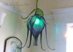 Silk Lily Hanging Color Changing Lamp by littlewingfaerieart (Cool Bedrooms Lamps) Diy Luminaire, Luminaire Design, Hanging Lights, Fairy Lights, Origami Lamps, Lampe Art Deco, Flower Lamp, Butterfly Lamp, I Love Lamp