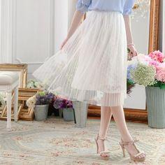 LadyIndia.com # Midi Skirt, Designer Plated Skirt White Knee Length Skirt with Lace, Skirts, Mini Skirt, Midi Skirt, Long Skirt, Western Wear, https://ladyindia.com/collections/western-wear/products/designer-plated-skirt-white-knee-length-skirt-with-lace