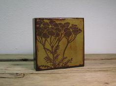 Green Pod Flowers Painted Art Block  MatchBlox1674 by MatchBlox, $29.00