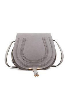 Chloe Marcie Medium Leather Crossbody Bag, Gray
