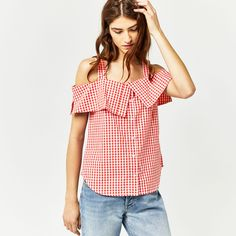 Warehouse, RED GINGHAM TOP Red Pattern 1