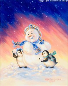 Snowman and penguins Christmas Images, Christmas Snowman, Winter Christmas, Vintage Christmas, Christmas Crafts, Merry Christmas, Snowman Snow Globe, Frosty The Snowmen, Cute Snowman