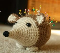 Amigurumi Hedgehog Pincushion pattern by Knot Yo Grandma Crochet Dolls, Crochet Baby, Knit Crochet, Yarn Crafts, Diy And Crafts, Crochet Pencil Case, Crochet Hedgehog, Baby Patterns, Pin Cushions