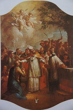 St Boniface of Germany |   http://www.saintnook.com/saints/bonifaceofgermany/ | File:Johann Andreas Herrlein Martyrium des heiligen Bonifatius 1778.jpg