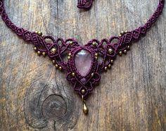 Rose Quartz Macrame necklace elven tiara boho chic jewelry by Creations Mariposa