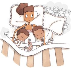 quenalbertini: Asleep in mom's bed Family Illustration, Illustration Art, Toddler Bedtime, Father Images, Frederique, Mother And Child, Birth Mother, Second Baby, Baby Birth