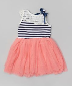 Look at this Pink Stripe Lace Tutu Dress - Toddler & Girls on #zulily today!