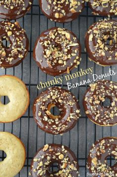 Baked banana donuts dipped in dark chocolate and sprinkled with walnuts. Chunky Monkey Banana Donuts were inspired by the ice cream flavor known by the same name — loaded with fresh banana, rich dark chocolate, and crunchy walnuts. I feel… Read more › Delicious Donuts, Delicious Breakfast Recipes, Dessert Recipes, Desserts, Healthy Donuts, Baked Donut Recipes, Baked Donuts, Donuts Donuts, Bakery Donuts Recipe