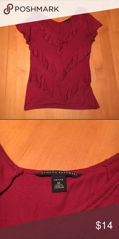 Red ruffle v neck Banana republic top fits tts VGUC Ruffles in front only Banana Republic Tops Blouses