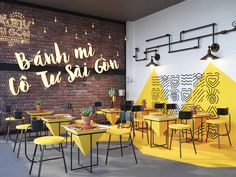 Bánh Mì Cô Tư Sài Gòn on Behance Small Restaurant Design, Deco Restaurant, Restaurant Interior Design, Cafe Shop Design, Coffee Shop Interior Design, Office Interior Design, Fast Food Design, Cafe Wall, Decoration