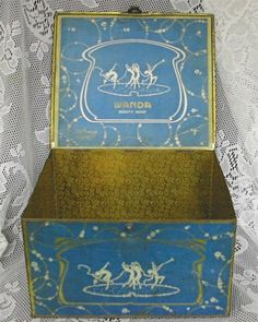 Art Deco Metal Box Dancing Nymphs Nudes Adv. Wanda Beauty Soap Display Tin