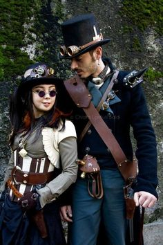 cute couple | Are you as steampunk obsessed as we are? Follow us here --> http://www.pinterest.com/thevioletvixen/i-love-steampunk/