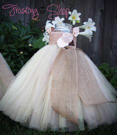 Champagne Rose Trio Burlap Tutu Dress Vintage by FrostingShop, $75.00