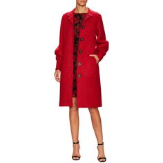 Oscar de la Renta Women's Spread Collar Coat - Red - Size 8 ($1,499) ❤ liked on Polyvore featuring outerwear, coats, red, oscar de la renta, oscar de la renta coat and red coat