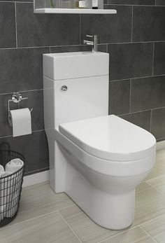 Short on space? 2 in 1 toilet and basins combine the two together - ideal for en-suite bathrooms! Bathroom Renos, Bathroom Interior, Modern Bathroom, Small Bathroom, Bathrooms, Toilet Sink, New Toilet, Small Toilet Room, Modern Toilet