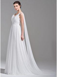 A-Linie/Princess-Linie V-Ausschnitt Watteau-falte Tüll Brautkleid mit Rüschen