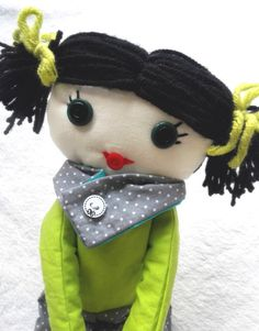 Handmade Rag doll ooak cloth rag doll with green and by Mehowka