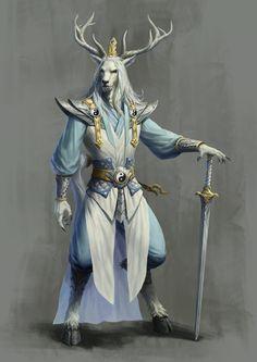 Darreni -- King Stag by Rui Jin Fantasy Races, Fantasy Warrior, Fantasy Rpg, Fantasy Artwork, Dark Fantasy, Fantasy Character Design, Character Design Inspiration, Character Art, Dnd Characters