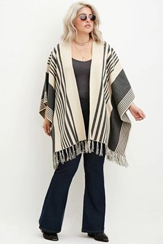FOREVER plus size mixed stripe fringed poncho Curvy Plus Size, Plus Size Tops, Plus Size Women, Forever 21 Plus, Full Figured Women, Work Looks, Casual Outfits, Casual Clothes, Casual Wear