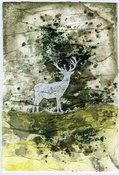 Mixed Media deer in woods - Janet Plantinga Art