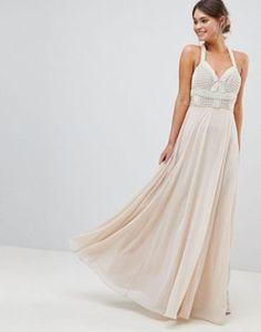 dfd10ef897 ASOS DESIGN Premium Embellished Maxi Dress With Pearl Basque Nude Maxi  Dresses