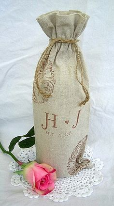 Monogram Wine Favor Bags 100% Natural Linen Vintage Rustic Wedding Custom Date Personalized Doily Stamped 10 Bag Set
