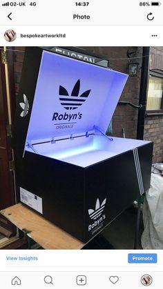 Giant Shoe Box, Shoe Box Storage, Sneakers Box, Business Signs, Diy Ideas, Garage, Dressing, Adidas, Logo