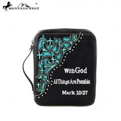 Black & Turquoise Corner Scroll With God Western Bible Cover