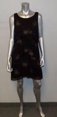 SL FASHIONS NWT Black/Gold Dot Tulip Tiered Sleeveless Cocktail Dress sz 6 $89 | eBay