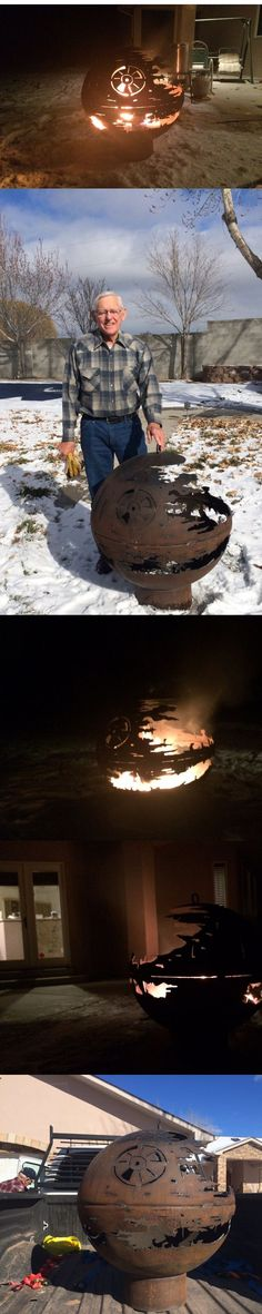 84-Year-Old Grandpa Welds a Death Star Fire Pit for Christmas That's no moon… it's a fire pit. Read more: http://www.visualnews.com/2015/01/02/84-year-old-grandpa-welds-death-star-fire-pit-christmas/#BvI0ELXp0RJWWxiP.99: