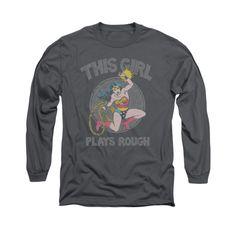 Wonder Woman This Girl Plays Rough Mens Long Sleeve T-Shirt