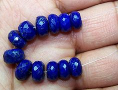 58 Ct Royal Blue Lapis Faceted Rondelle 9-11 MM Loose Bead 12 pcs 2 1/2