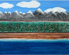 "Layered Landscape: Acrylic and glass beads on canvas. 20"" x 16"" x 1.5"", By Mary Mohr Johnson"