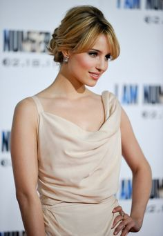 Dianna Agrons elegant, updo hairstyle hair-and-beauty