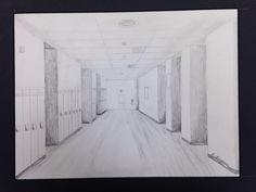 Liz Thompson, Freshman, 2013, Hallway Perspective Drawing