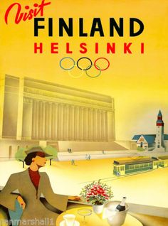 1940-Olympic-Games-Helsinki-Finland-Scandanavia-Travel-Advertisement-Poster