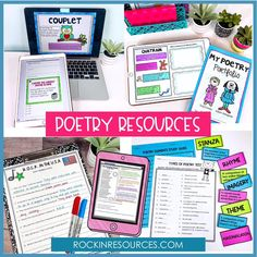 Step-by-Step Writing Program with Interactive Notebooks Teaching Poetry, Teaching Reading, Teaching Tools, Teaching Resources, Learning, Poetry Lessons, Math Lessons, Poetry Activities, Reading Centers
