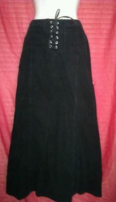 Divided by H&M Women's Stretch Black Corduroy  Long Jean Skirt Size 8